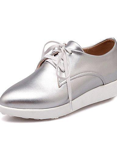 NJX/ Zapatos de mujer Semicuero Plataforma Comfort/Puntiagudos Oxfords Vestido/Casual Azul/Rosa/Blanco/Plata , blue-us5 / eu35 / uk3 / cn34 , blue-us5 / eu35 / uk3 / cn34 blue-us5 / eu35 / uk3 / cn34