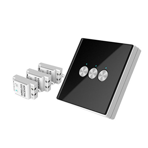 Nacome Wireless Wall Switch Lighting Control,3 x receivers,Remote Operation,Capacitive Glass Wireless Wall Switch (Black) by Nacome