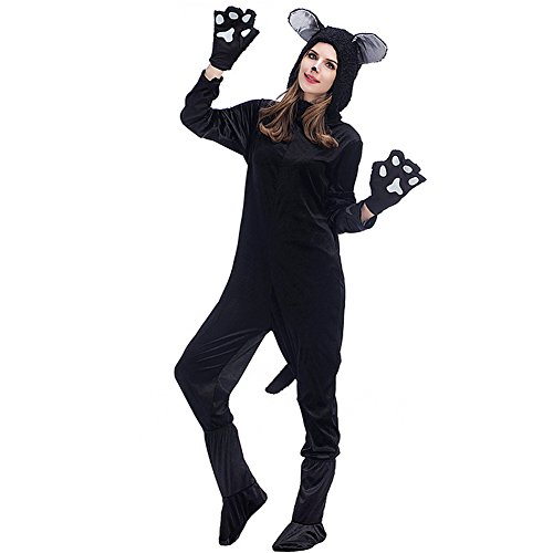 Cat And Dog Couple Halloween Costumes (Hallowmax's Halloween Black Cat Jumpsuit Dog Bear Couple Costume Cat Suit)