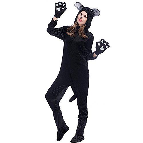 Costume Dog Cat Couples (Hallowmax's Halloween Black Cat Jumpsuit Dog Bear Couple Costume Cat)