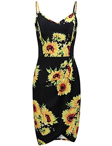 (MOQIVGI Tulip Dress,Womens V Neck Sleeveless Sunflower Pattern Midi Blouson Fancy Casual Comfy Day Dresses Ladies Spaghetti Strap Bodycon Cocktail Clothes Black Large)