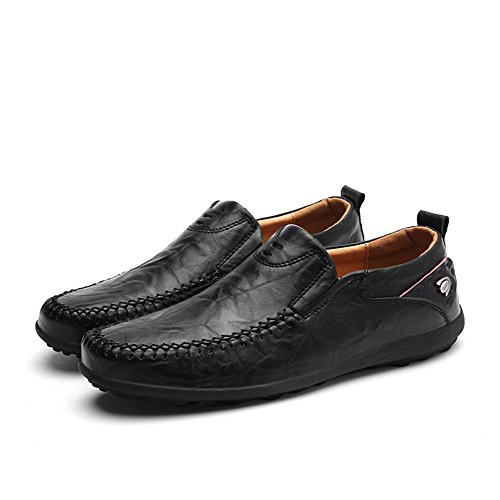Another Summer Mens Slip-on Business Casual Leather Loafers Black J0l8ERVMAg
