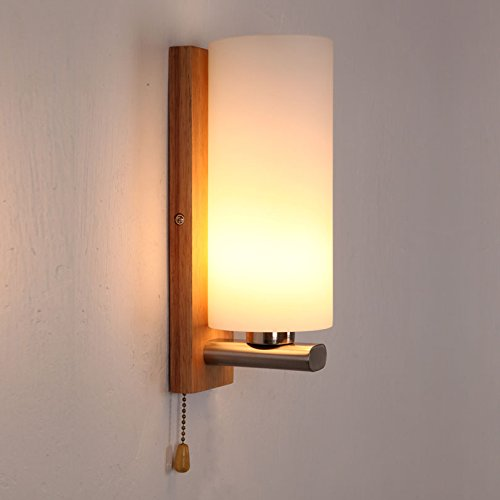 Injuicy Loft Industrial Vintage Glass Wall Lights Lamp Shades Retro Oak Wood Edison E27 Wall Sconces for Bedside Bedrooms Living Dining Room with Pull Switch Decor Wall Sconce Switch