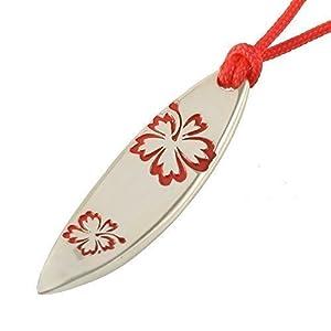 Silber Schmuck Anhänger Surfboard Surfbrett Hawaii Rot Grösse L