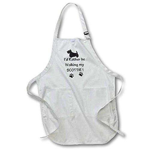 3dRose apr_1315_4 Scottie 22 by 30-Inch Apron with Pockets, Full, Black