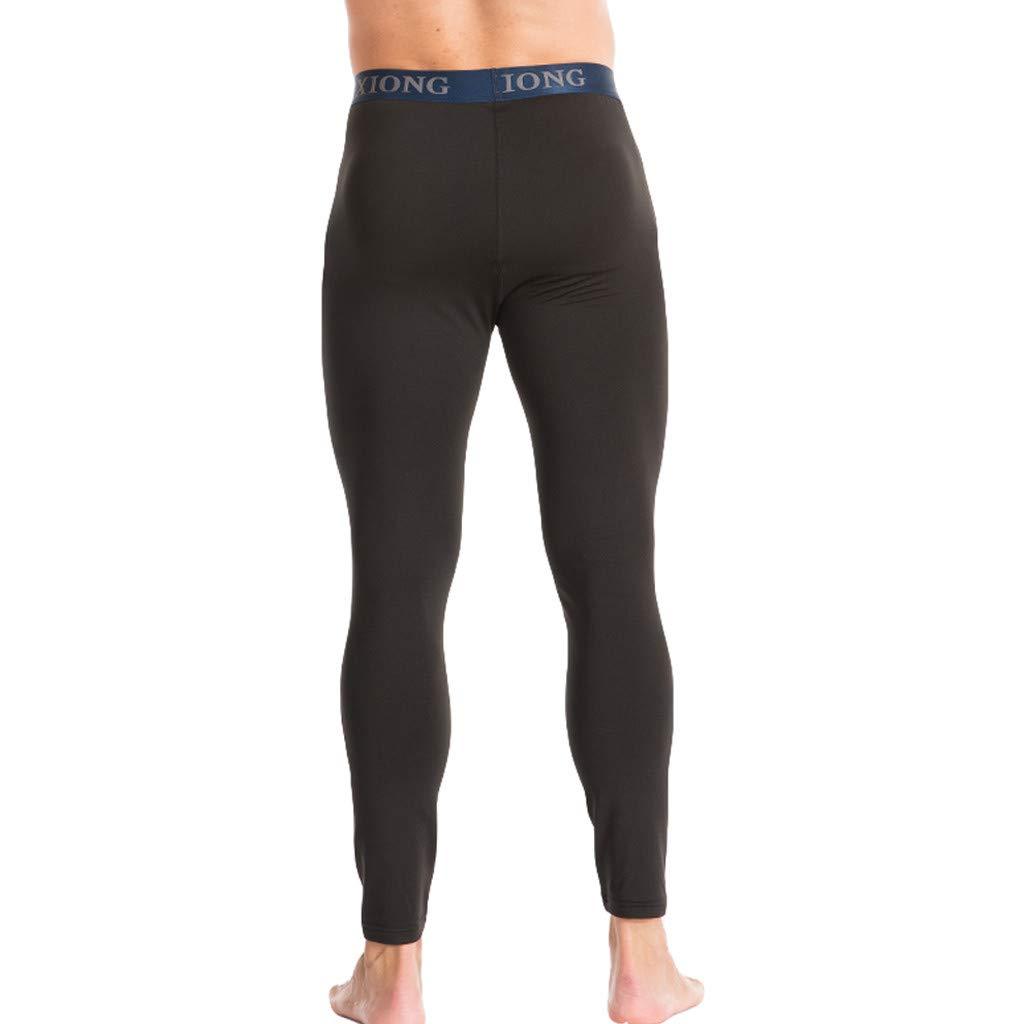 Mens Autumn Winter Comfortable Warm Pure Color Bottompants Leggings Pants