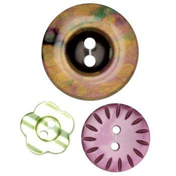 Fashion Buttons 5/8'' 3/4'' 1 1/8'' Coordinates Multi/Purple/Green (La Mode Coordinates Buttons)