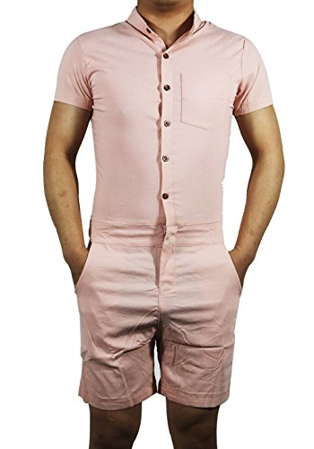 MAXIMGR Mens Short Sleeve Jumpsuit Casual Short Cargo Pants Rompers Overall Size Small (Orange)