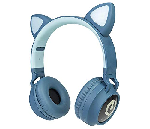 PowerLocus Buddy Wireless Bluetooth Headphones for Kids, Kid Headphone Over-Ear with LED Lights, with 10H Playtime, Wireless and Wired Headphone for Cell Phones,Tablets,PC,Laptop Blue