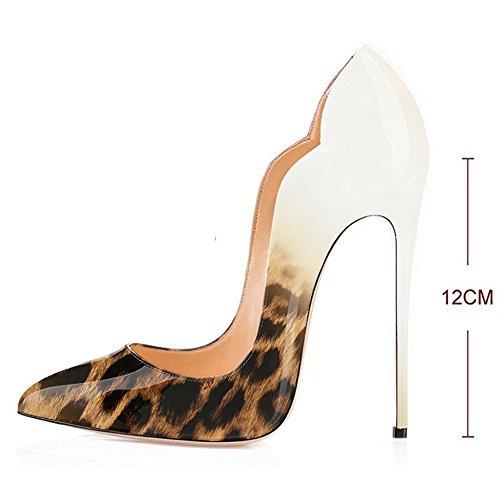 Luistaa Leopard Teräväkärkiset Iltamat Pumput Korkokengät Klassinen Pumppujen Kengät Naisten Tikari 002 Juhlakengät Kmeioo AztqPg