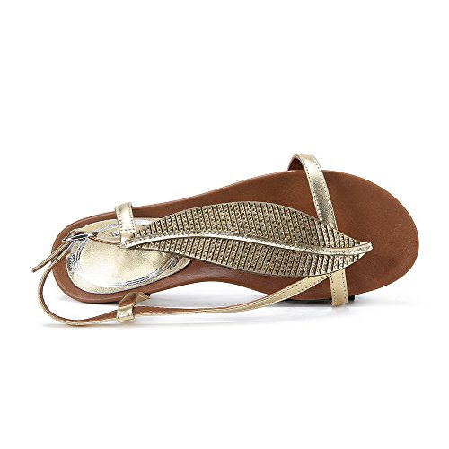 Amoonyfashion Para Mujer Split Toe Low Heels Material Suave Solid Pull On Sandals Gold