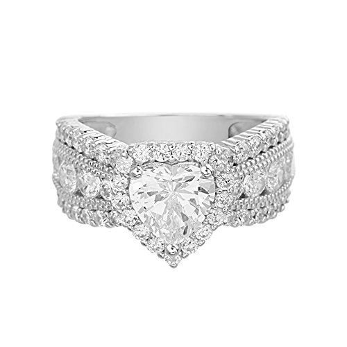Devin Rose Heart Cut Cubic Zirconia Halo Anniversary/Engagement Ring for Women in 925 Sterling Silver (Size 7) Cubic Zirconia Three Heart
