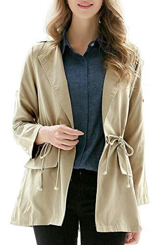 Stlie Leggero Caftano Eleganti Cappotto Jacket Casual Khaki Coulisse Trench Maniche Monocromo Bavero Grazioso Coat Donna Moda Autunno Lunghe Primaverile 67qw86aT