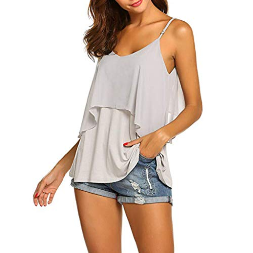 2019 Women Sexy V Neck Sleeveless Camis Summer Tank Tops Patchwork Casual Blouses (Gray, S) by Tanlo (Image #5)