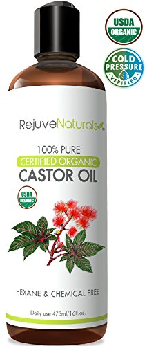 Castor Oil (16oz) USDA Certified Organic, 100% Pure, Cold Pressed, Hexane Free by RejuveNaturals. Boost Hair Growth for Eyelashes, Eyebrows & Hair. Natural Dry Skin Moisturizer for Women & Men by RejuveNaturals
