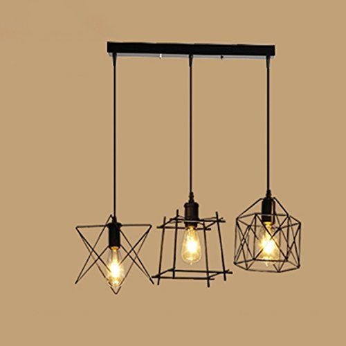 NIUYAO Antique Metal Cage Pendant Lighting Chandelier Rustic Kitchen Linear Island Light 3 Lights by NIUYAO (Image #3)
