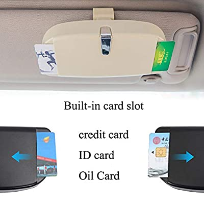 Dualshine Car Sun Visor Glasses Case Holder Clip, Eye Sunglasses Organizer Mount with Ticket Card Clip- Apply to All Car Models (Beige): Automotive