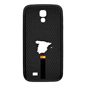 Elegant Spain Flag and Map on Dark Gray - Spanish Flag - Flag of Spain Black Silicon Rubber Case for Galaxy S4 by UltraFlags + FREE Crystal Clear Screen Protector