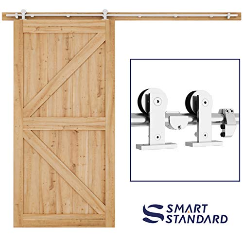 SMARTSTANDARD 8FT Top Mount Heavy Duty Sliding Barn Door Hardware Kit, Single Rail, Stainless Steel, Smoothly and Quietly, Simple and Easy to Install, Fit 42