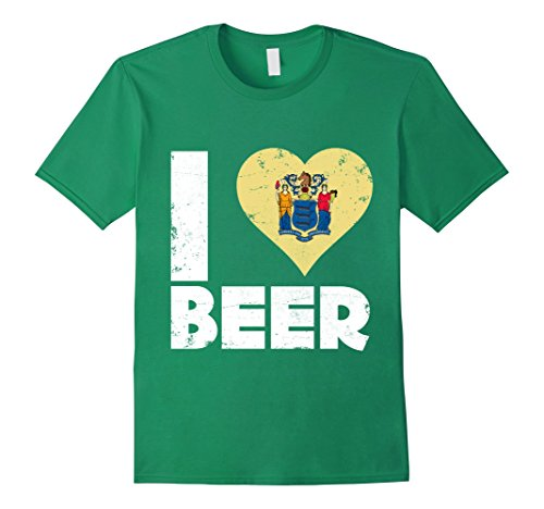 Mens I Heart New Jersey Beer State Flag Pride Drinking Home Tee Large Kelly Green