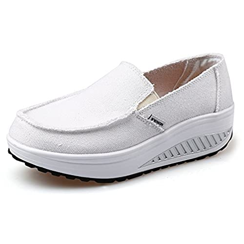 f24dbd8eab6fa durable modeling Ausom Women's Swing Wedges Casual Canvas Shoes ...