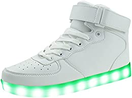 Upgraded Kids Light up Shoes High Top Flashing Sneakers (Toddler/Little Kid/Big Kid)LK17White26Size: 9 M US...
