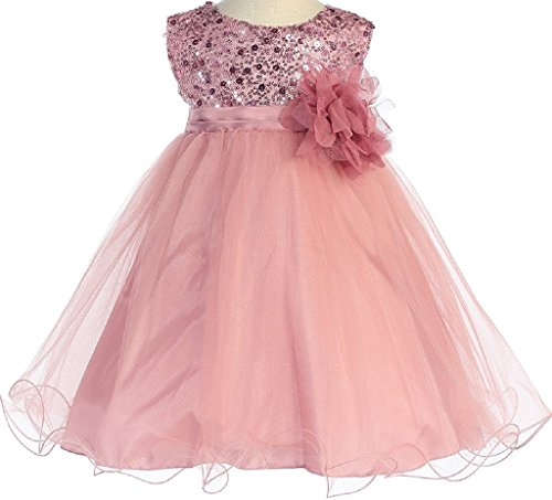 Long Charmeuse Bodice Dress (Little Baby Girls Sleeveless Sequin Glitter Little Baby Infant Toddler Flower Girl Dress Rose XL (K31D5))