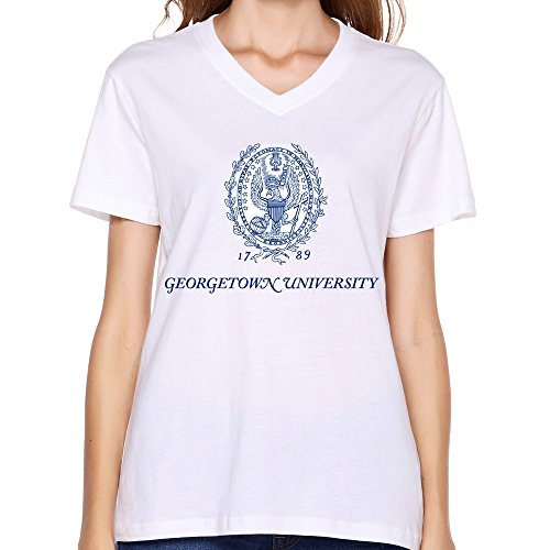 LinYang Women New Georgetown University Logo V-Neck Tee Shirts