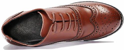 Zapatos Bomba Cuero Cordones SimpleC Wingtip para Caramelo Oxford Perforado Vendimia con Mujer YxqWdgf