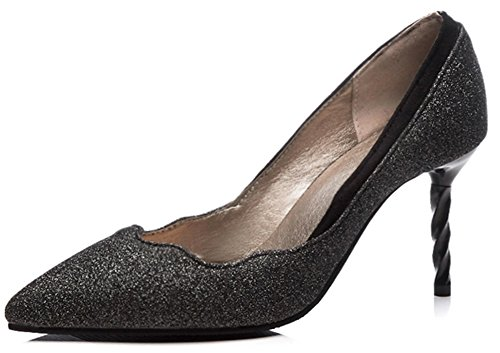 Glitter Toe Heeled High Womens Black Stiletto Pumps On For Stylish Pointed Slip IDIFU Party c18wBzUqn