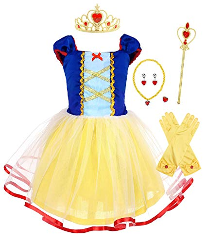MetCuento Snow White Costume for Girls Princess Dress Up with Accessories Fairy Tales Halloween Costume Cosplay Fancy Party Outfit Size 5 (Yellow, 4-5 Years) -