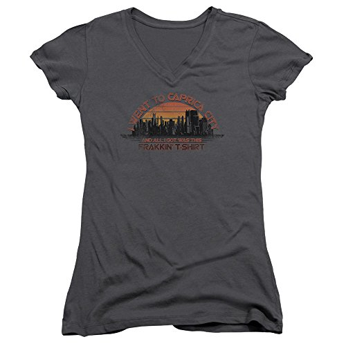 Battlestar Galactica Caprica City Juniors V-Neck T-Shirt XX-Large Charcoal - Battlestar Galactica Caprica City