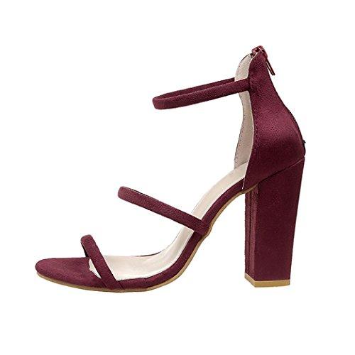 Xmansky Damen Schnürer Hohen Blockabsatz Plateau Pelz Sandalen Party Schuhe Rot