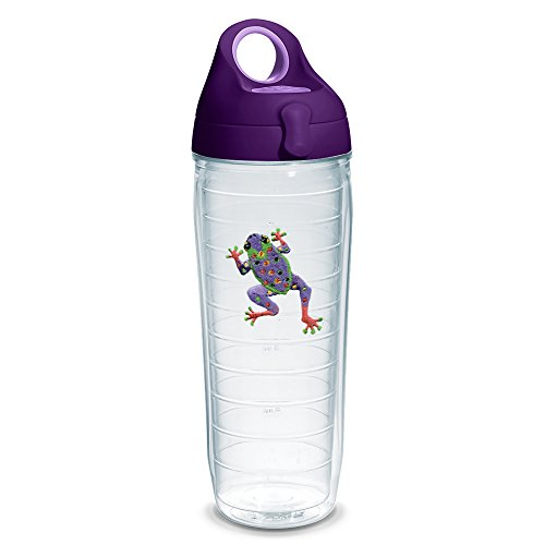 Tervis 1230685 Purple Frog Tumbler with Emblem and Purple Lid 24oz Water Bottle, Clear - Tumbler Frog