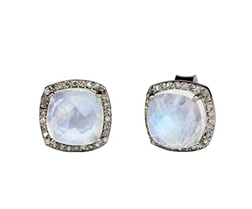 Moonstone Gemstone Diamond Sterling Silver Cushion Stud Earrings June birthstone - 10mm (Moonstone Diamond Earrings)