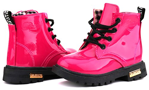 LONSOEN Boys Girls Waterproof Lace/Zip up Kids Boots, Hot Pink, KDB002 CN31 by LONSOEN (Image #6)