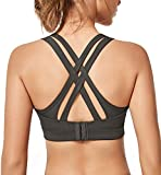 Yvette Women High Impact Strappy Criss Cross Back Sexy Sports Bras Adjustable Running Bra for Plus Size, 57A, M(DF)
