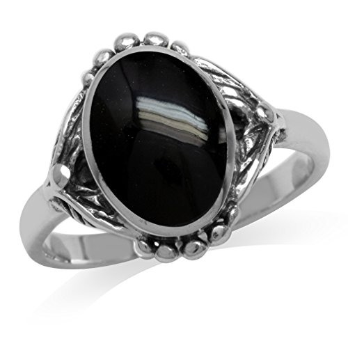 (Created Black Onyx Inlay 925 Sterling Silver Baroque Inspired Ring Size 6)