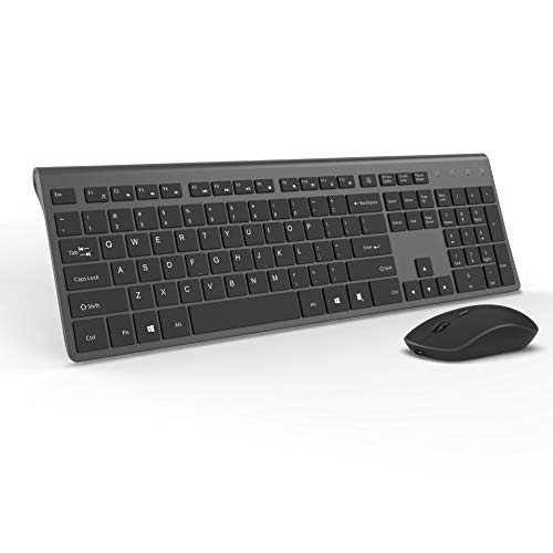 Wireless Keyboard and Mouse Combo-J JOYACCESS Portable Ergonomic Keyboard and Mouse with Rechargeable Batteries,2.4GHz Stable Connection,Silent Mouse for Desktop and Laptop-Black