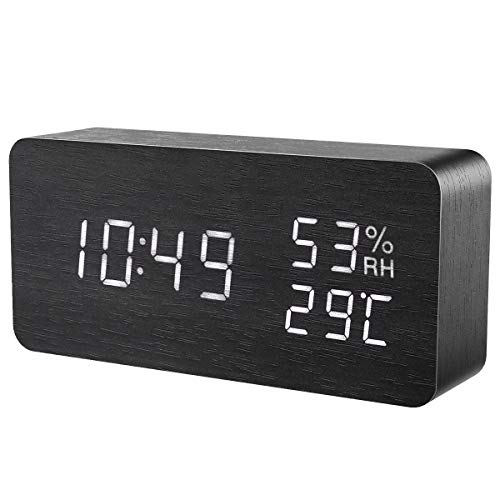 ORIA Wooden Alarm Clock, Digital LED Display Wooden Clock, Smart Voice Activated with 3 Alarm Sounds, 3 Levels Brightness, Display Temperature Humidity Time Date Week for Bedroom Home Office