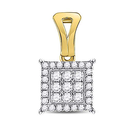 Dazzlingrock Collection 14kt Yellow Gold Womens Round Diamond Square Cluster Pendant 1/4 Cttw