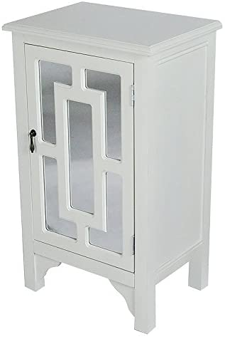 Heather Ann Creations 30 Antique White Becker Collection Handcrafted Greek Key Wood Living Room Cabinet with Mirror Door