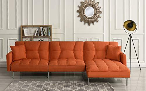 "Casa Andrea Modern Linen Fabric Futon Sectional Sofa, 110.6"" W inches (Orange)"
