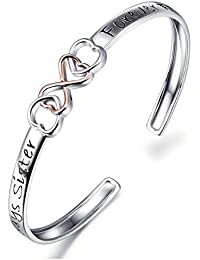 "Two Tone 925 Sterling Silver ""Always Sister Forever Friend"" Infinity Love Bracelet, 7'"