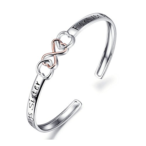 "Two Tone 925 Sterling Silver ""Always Sister Forever Friend"" Infinity Love Bracelet 7″, Friendship Jewelry For Women Girls"