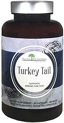 Aloha Medicinals - Pure Turkey Tail - Certified Organic Mushroom – Trametes Versicolor – Antioxidant – Cardiovascular - Gut Health – PSP, PSK Proteins – Natural Health Supplement - 500mg – 90 Capsules