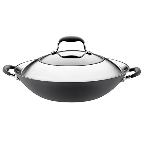 Anodized Wok - Anolon Advanced Hard-Anodized Nonstick 14-Inch Covered Wok, Gray