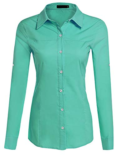 Down Button Collar Shirt Woven - HOTOUCH Women Dress Shirts Long Roll Up Sleeve Button Down Collared Blouse Tops (Green M)