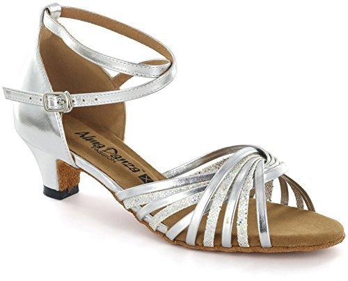 (AlmaDanza Latin Sandal A268612 Heel 1.5'' (10, Silver))