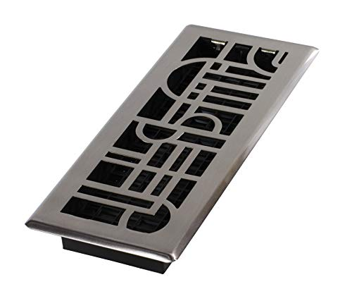 Decor Grates ADH412-NKL Art Deco Floor Register, Brushed Nickel, 4-Inch by 12-Inch ()